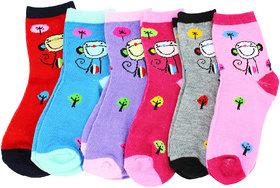 Neska Moda Cotton Ankle Length Multicolor Kids 6 Pair Socks For 7 To 13 Years SK410