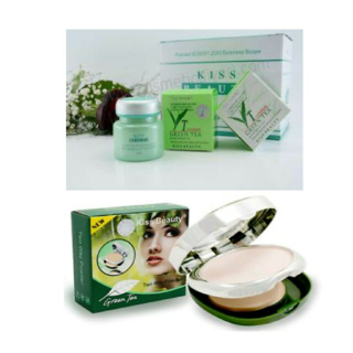 kiss beauty green tea waterproof foundation compact (combo pack)