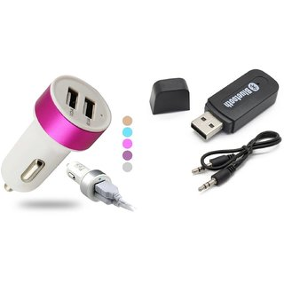 love4ride Combo of Car Bluetooth Device with Dual Car Charger