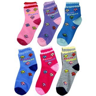 Neska Moda 6 Pairs Kids MultiColor Cotton Ankle Length Socks Age Group 7 to 13 Years SK229
