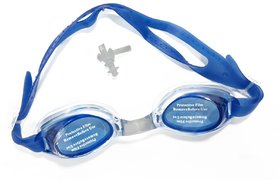 Neska Moda Unisex Anti Fog and UV Protected Blue Swimming Kit With Earplugs Swim11