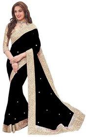 G Jelly Fashion Women'sPink Colour  lycra Stone work designer sari with blouse piece