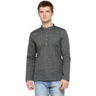 RG Designers Full Sleeves Plain Grey Kurta For Men