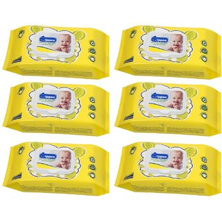 Wippee 80N with LID  Baby Wipes With Almond Oil ( Pack Of 6 )