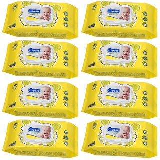 Wippee 80N with LID  Baby Wipes With Almond Oil ( Pack Of 8 )