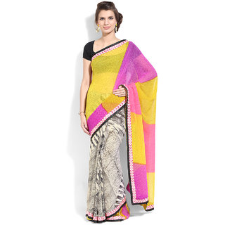 Lookslady Purple & Yellow Georgette Printed Saree With Blouse