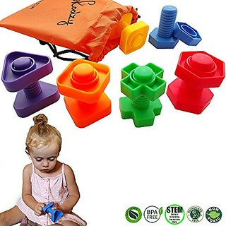Jumbo Nuts and Bolts Set with Tote 12 Pc - Occupational Therapy - Matching Fine Motor Toy for Toddle