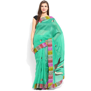 Lookslady Sky Blue Cotton Embroidered Saree With Blouse