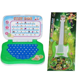New Pinch combo of Mini English Learning Laptop  Musical Guitar Fetching Light and Sound  (Multicolor)