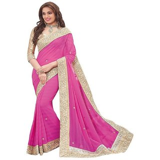 Pink Embellished Lycra Saree With Blouse by G Jelly Fashion Tree
