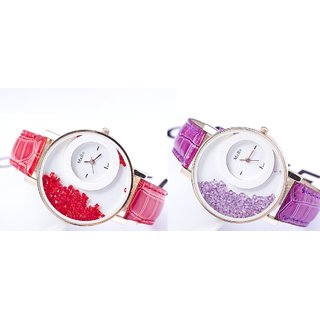 WOmen Lady Wadding Fashion Combo Of Tow(red  Perpal) Women And Girl Watch 6 month warranty