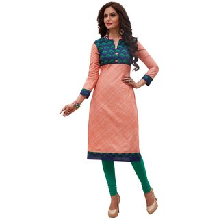 SALWAR HOUSE Peach Printed Cotton Unstitched Kurti Fabric for Women