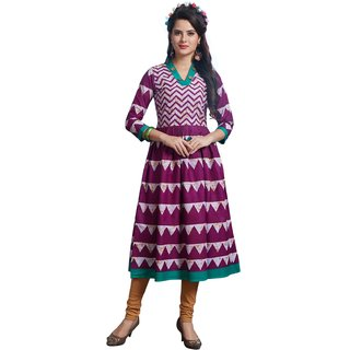 SALWAR HOUSE Pink Printed Cotton Unstitched Kurti Fabric for Women