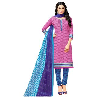 SALWAR HOUSE Pink Printed Cotton Unstitched Dress Material for Women