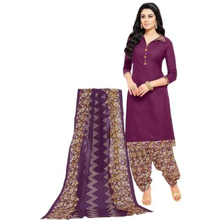 SALWAR HOUSE Purple Printed Cotton Unstitched Dress Material for Women