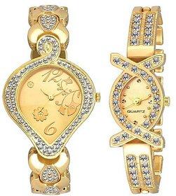 Varni Retail Pan Dial Golden Diamond And AKS Girls Combo Watch For Women