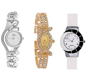 Varni Retail White Dial Silver Chain With AKS White PU Round Dial Girls Watch Combo For Women