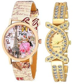 Varni Retail Stylish Effile Tower Leather Strap Watch With Diamond AKS Girls Combo For Women
