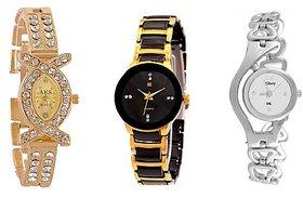 Varni Retail Diamond AKS + Golden IIK Women And Silver Glory Chain Women Combo For Girls
