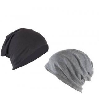 Combo pack of 2 black and grey beanie slouchy cap free size Stretchable for unisex