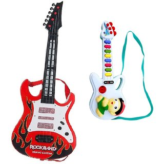 New Pinch Combo of Music and Lights Guitar Toy ( Big Red) with mini musical Guitar for kids  (Multicolor)