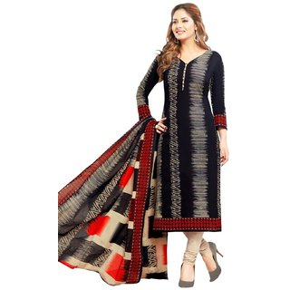 SALWAR HOUSE Black Printed Cotton Unstitched Dress Material for Women