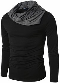 PAUSE Black Solid Cotton Round Neck Regular Full Sleeve Men's T-Shirt