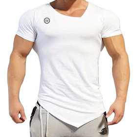 Pause Plain Cotton Lycra V-Neck White Men's T-Shirt