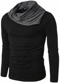 Pause Men's Black Cowl Neck Full Sleeve T-Shirt
