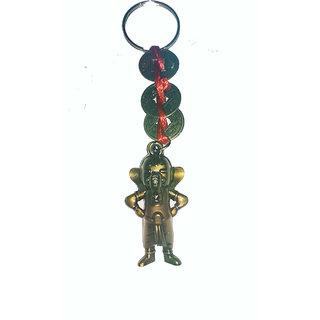 Ganesha Three Chinese Coins Tied In Red Ribbon Ganesha Head Key chain  Feng Shui Spiritual Key