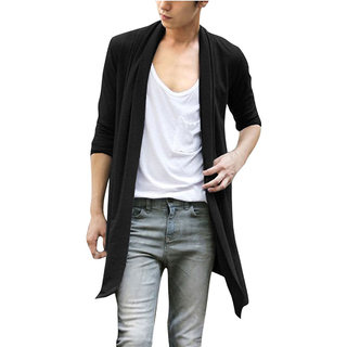 PAUSE Black Solid Cotton Round Neck Regular Full Sleeve Men's Cardigan