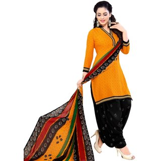 SALWAR HOUSE Orange Printed Synthetic Unstitched Dress Material for Women