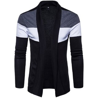 Pause Black Colorblock Cardigan for Men