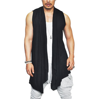 PAUSE Black Solid Cotton Round Neck Regular Sleeveless Men's Cardigan