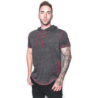 PAUSE Grey Solid Cotton Round Neck Slim Fit Short Sleeve Men's T-Shirt