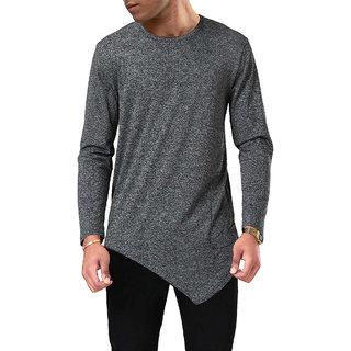 af79304090 Buy PAUSE Grey Solid Cotton Round Neck Slim Fit Full Sleeve Men s T ...