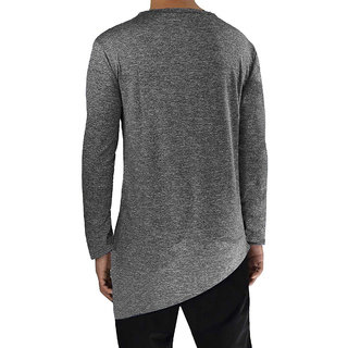 e2b362be0d4 Buy PAUSE Grey Solid Cotton Round Neck Slim Fit Full Sleeve Men's T-Shirt  Online - Get 64% Off