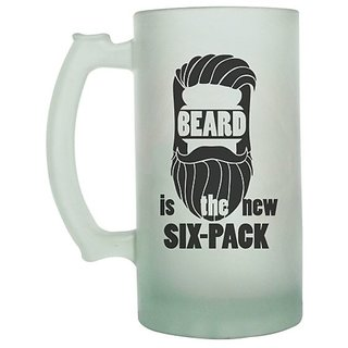 Beard Is the Six -Pack Frosted beer Mug