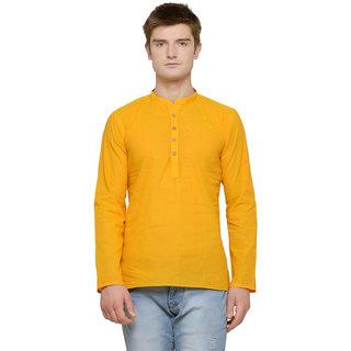 RG Designers Yellow Plain Short Kurta For Men (Full Sleeves)