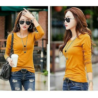 Fabrica Fab Yellow plain full sleeves round neck Tshirt for women