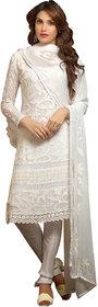 Utsav Designer White Nazmeen Karachi work Dress Material Top Bottom Dupatta