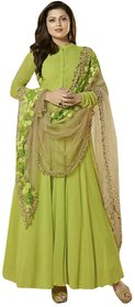 Utsav Designer Parrot Green Georgette Anarkali Dress Material Top Bottom Dupatta