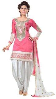 Utsav Designer Pink Chanderi Cotton Dress Material Top Bottom Dupatta
