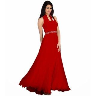 Utsav Designer Red Georgette Anarkali Dress Material