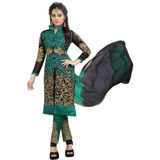 Utsav Designer Black & Green Georgette Dress Material Top Bottom Dupatta