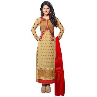 Utsav Designer Beige Khakhi Georgette Dress Material Top Bottom Dupatta