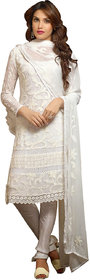 Utsav Designer White Nazmeen Karachi work Dress Material Top Bottom Dupatta