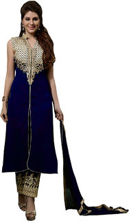 Utsav Designer Navy Blue Georgette Dress Material Top Bottom Dupatta