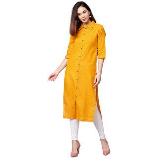 d9bc2deac Buy Jaipur Kurti Women Mustard Solid Straight Cotton Slub Kurta ...