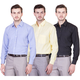 Akaas men's combo of formal shirts(skyblue,yellow,black)